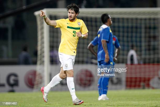 Alexandre Pato of Brazil celebrates a scored goal against Ecuador as part a match of Group B of Copa America 2011 at the Mario Kempes Stadium on July...