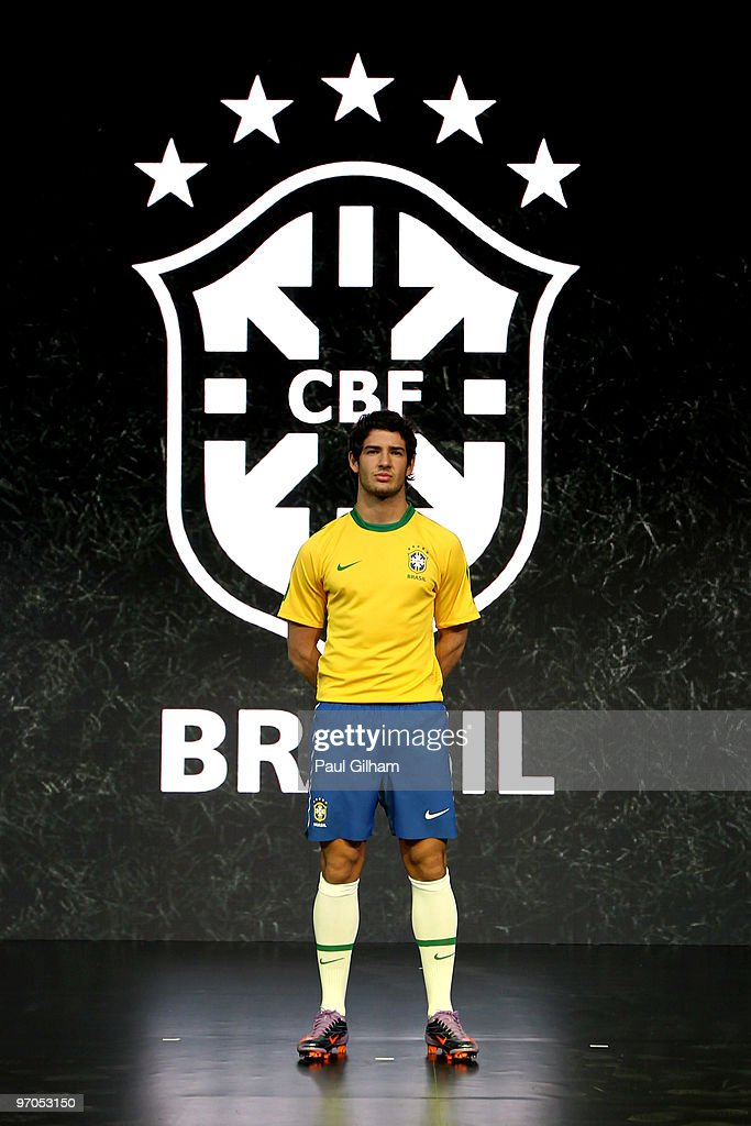 Alexandre Pato of Brazil poses during the Nike unveils the new Brazil home and away kit, plus 8 away kits for the other Nike-Sponsored federations appearing at the 2010 World Cup in South Africa at Battersea Power Station on February 25, 2010 in London, England.