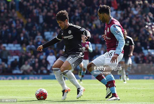 Alexandre Pato of Chelsea and Joleon Lescott of Aston Villa compete for the ball during the Barclays Premier League match between Aston Villa and...