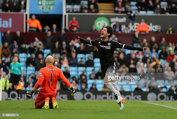 Alexandre Pato of Chelsea celebrates after scoring a goal to make it 02 during the Barclays Premier League match between Aston Villa and Chelsea at...