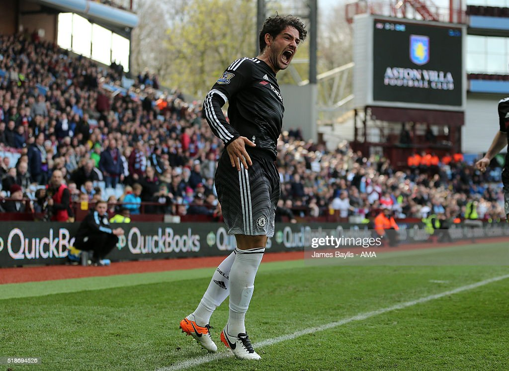 Alexandre Pato of Chelsea celebrates after scoring a goal to make it 0-2 during the Barclays Premier League match between Aston Villa and Chelsea at Villa Park on April 2, 2016 in Birmingham, England.