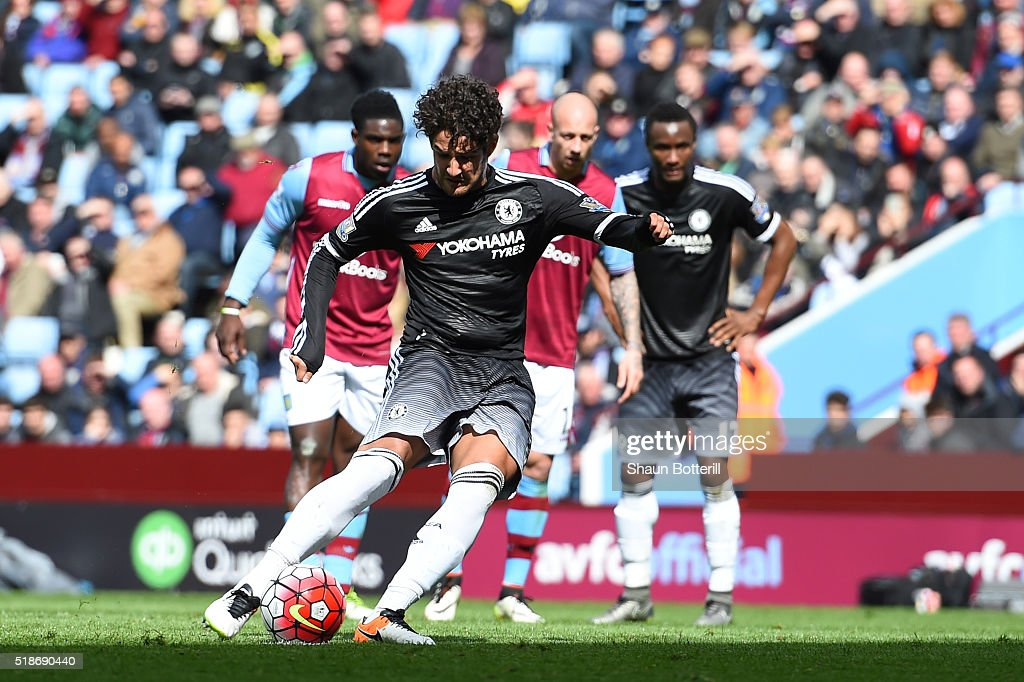 Alexandre Pato of Chelsea converts the penalty to score his team's second goal during the Barclays Premier League match between Aston Villa and Chelsea at Villa Park on April 2, 2016 in Birmingham, England.