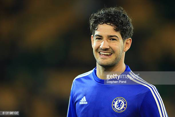 Alexandre Pato of Chelsea is seen at the warm up prior to the Barclays Premier League match between Norwich City and Chelsea at Carrow Road on March...