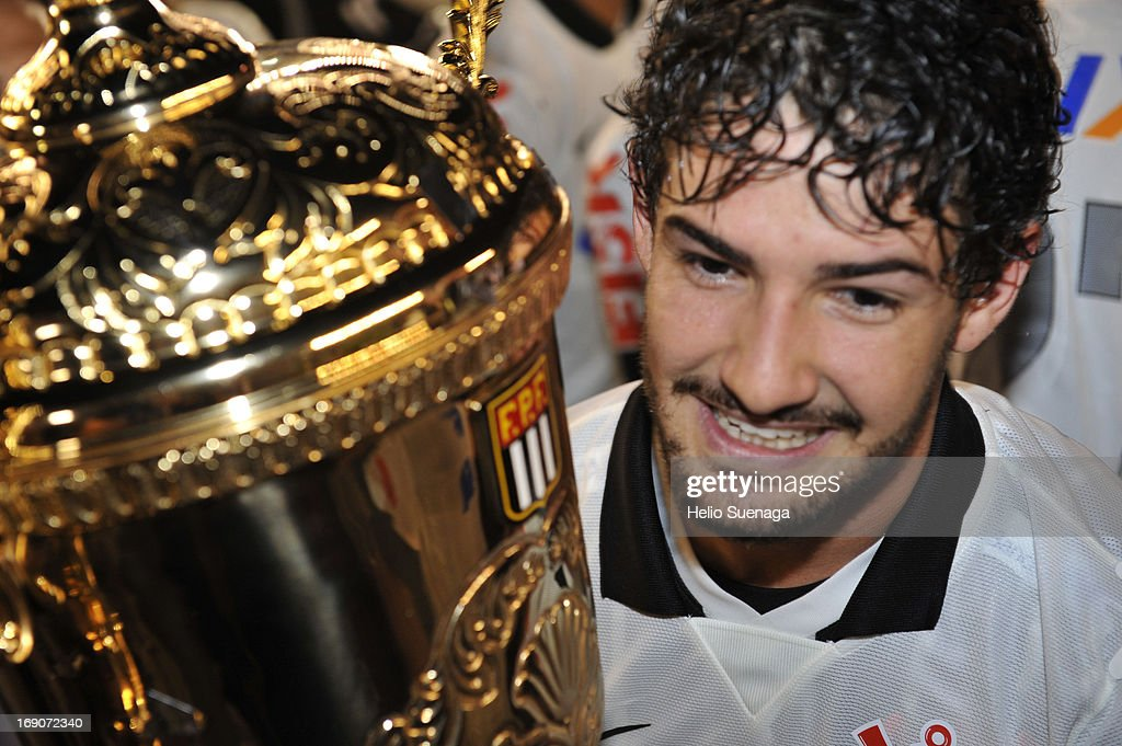 Alexandre Pato of Corinthians celebrates the title of the Paulista Championship 2013 after the match between Santos and Corinthians as part of Paulista Championship at Vila Belmiro Stadium on May 19, 2013 in Santos, Brazil.