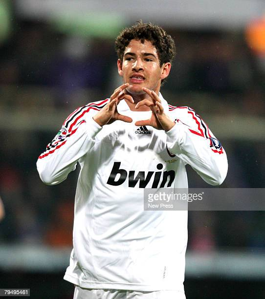 Alexandre Pato of Milan celebrates during the Serie A match between Fiorentina and Milan at the Stadio Franchi on February 03 2008 in Siena Italy