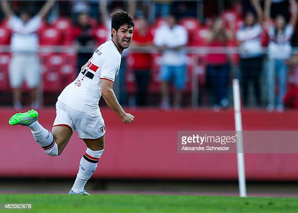 Alexandre Pato of Sao Paulo celebrates their first goal during the match between Sao Paulo and Cruzeiro for the Brazilian Series A 2015 at Morumbi...