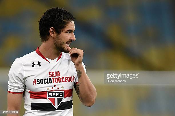 Alexandre Pato of Sao Paulo gestures during a match between Fluminense and Sao Paulo as part of Brasileirao Series A 2015 at Maracana Stadium on...