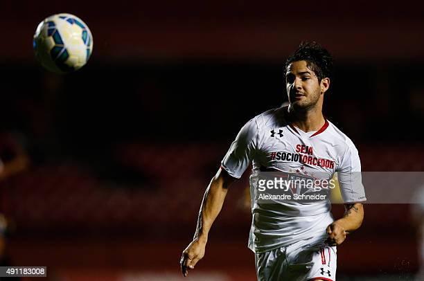 Alexandre Pato of Sao Paulo in action during the match between Sao Paulo and Atletico PR for the Brazilian Series A 2015 at Morumbi stadium on...