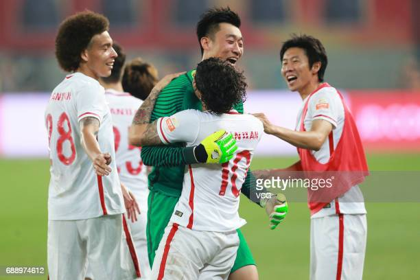 Alexandre Pato of Tianjin Quanjian celebrates a point during the 11th round match of 2017 Chinese Football Association Super League between Tianjin...