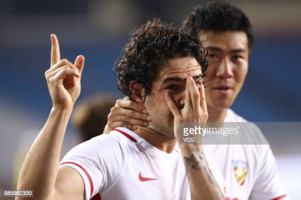 Alexandre Pato of Tianjin Quanjian celebrates after scoring a goal during the 10th round match of 2017 Chinese Football Association Super League...