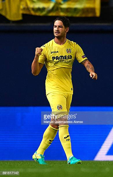 Alexandre Pato of Villarreal celebrates scoring his team's first goal during the UEFA Champions League playoff first leg match between Villarreal CF...