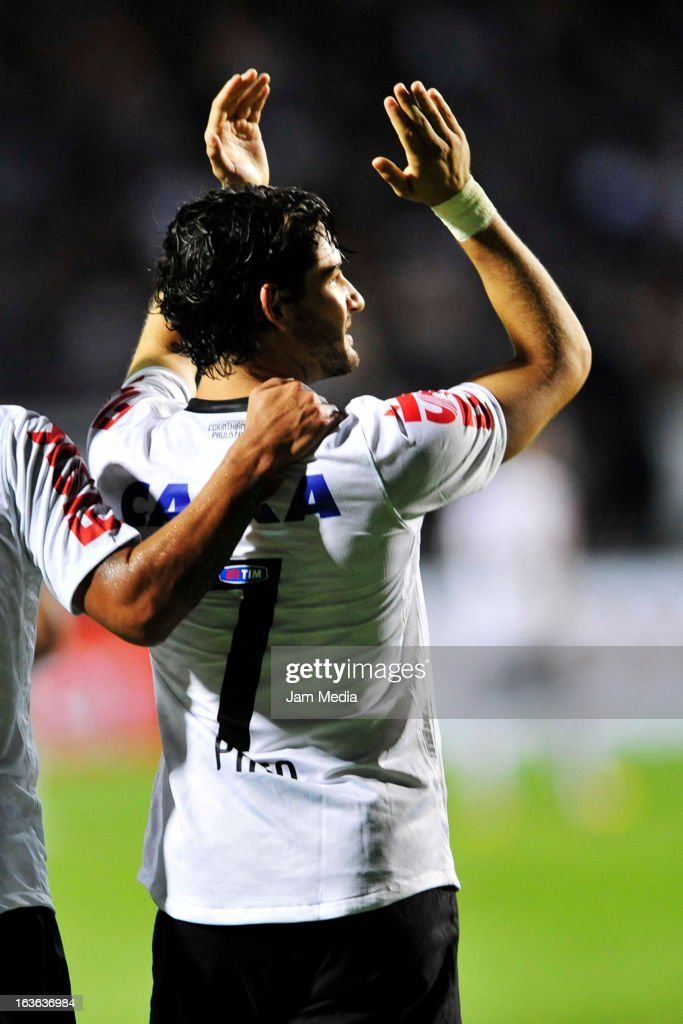 Alexandre Pato player of Corinthians celebrate a goal during the match between Corinthians and Tijuana as part of Liberdadores Cup of America at Pacaembu Stadium on March 13, 2013 in São Paulo, Brazil.