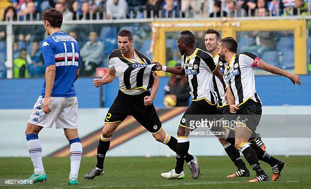 Alexandre Pazos Geijo of Udinese Calcio celebrates with his teammate Babu Emmanuel Agyemang during the Serie A match betweeen UC Sampdoria and...