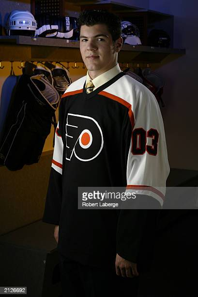 Alexandre Picard a third round pick of the Philadelphia Flyers stands for a portrait during the 2003 NHL Entry Draft on June 21 2003 at the Gaylord...
