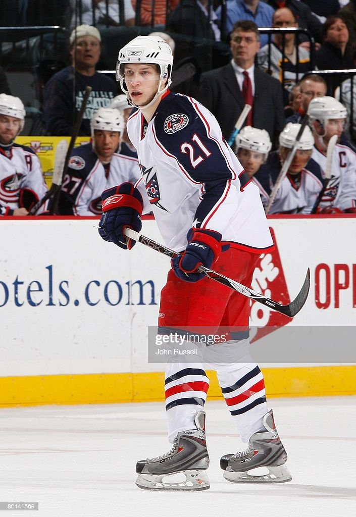 Alexandre Picard of the Columbus Blue Jackets skates against the Nashville Predators on March 25 2008 at the Sommet Center in Nashville Tennessee