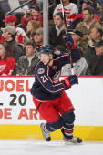 Alexandre Picard of the Columbus Blue Jackets skates against the Detroit Red Wings on March 22 2008 at Nationwide Arena in Columbus Ohio