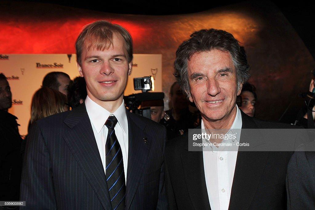 Alexandre Pougatchev and Jack Lang attend France Soir Launch Party in Paris.