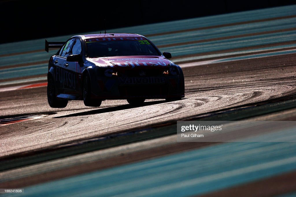 Alexandre Premat drives the Fujitsu Holden during the V8 Supercars qualifying session at the Yas Marina Circuit on November 2, 2012 in Abu Dhabi, United Arab Emirates.