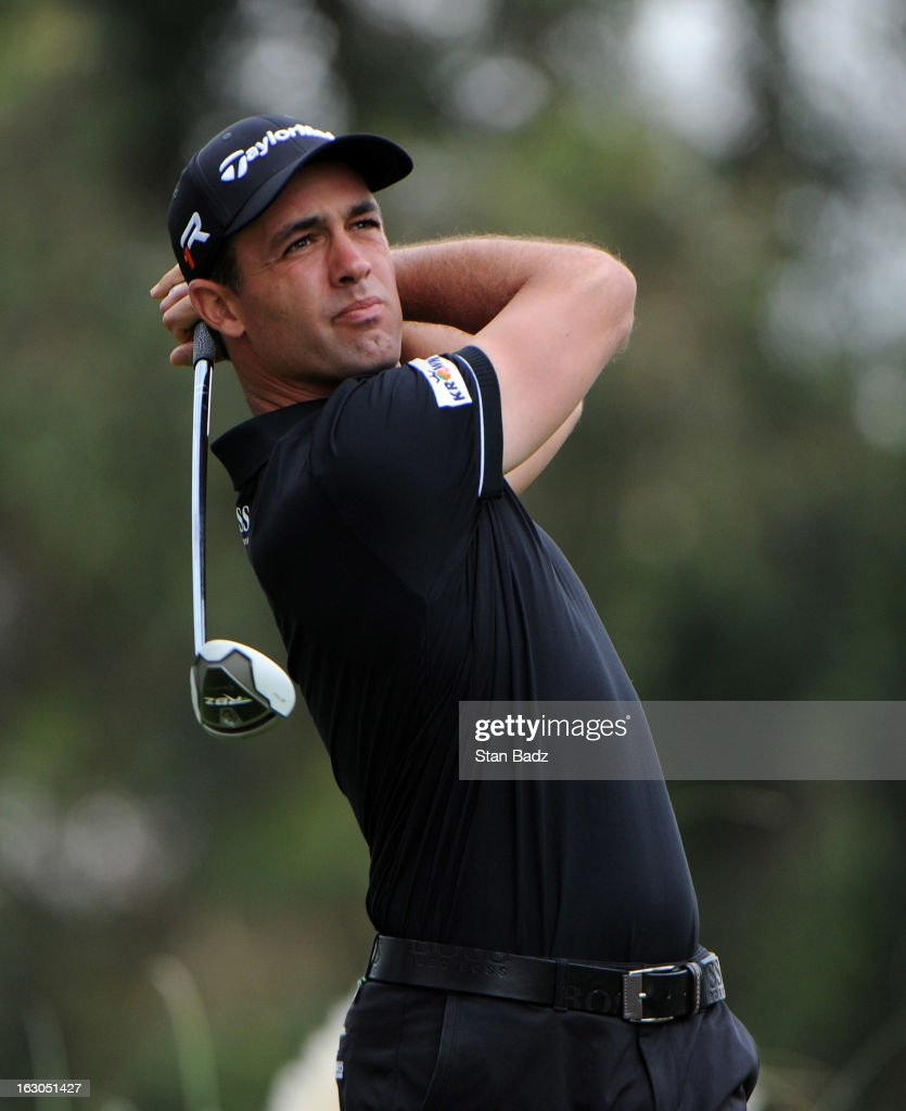 Alexandre Rocha of Brazil hits a tee shot on the second hole during the final round of the Colombia Championship at Country Club de Bogota on March 3, 2013 in Bogota, Colombia.