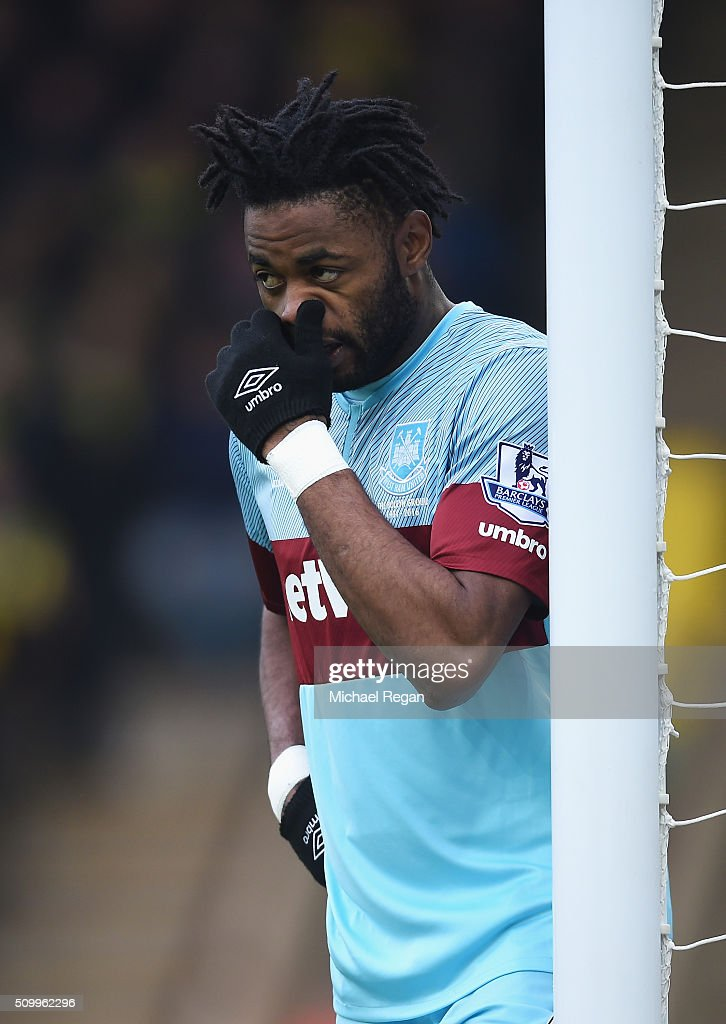 Alexandre Song of West Ham United reacts during the Barclays Premier League match between Norwich City and West Ham United at Carrow Road on February 13, 2016 in Norwich, England.