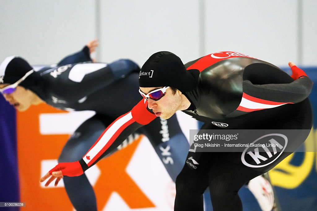 Alexandre St-Jean of Canada compete in the Men 1500 meters race during day 3 of the ISU World Single Distances Speed Skating Championships held at Speed Skating Centre Kolomna Ice Arena on February 13, 2016 in Kolomna, Russia.