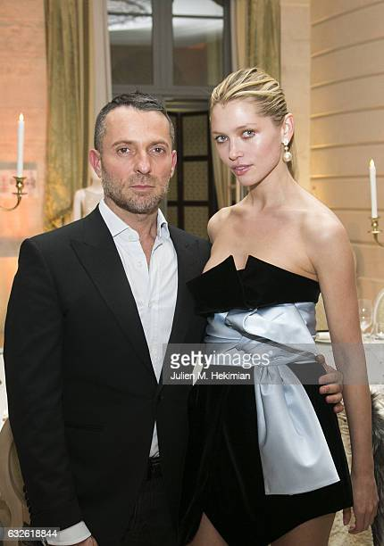 Alexandre Vauthier and Hana Jirickova attend the Swarovski Celebrates 10 Seasons X Alexandre Vauthier cocktail and dinner at Hotel Ritz on January 24...