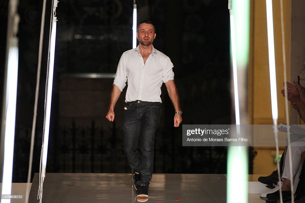 Alexandre Vauthier walks the runway during the Alexandre Vauthier show as part of Paris Fashion Week Haute Couture Fall/Winter 2015/2016 on July 7...