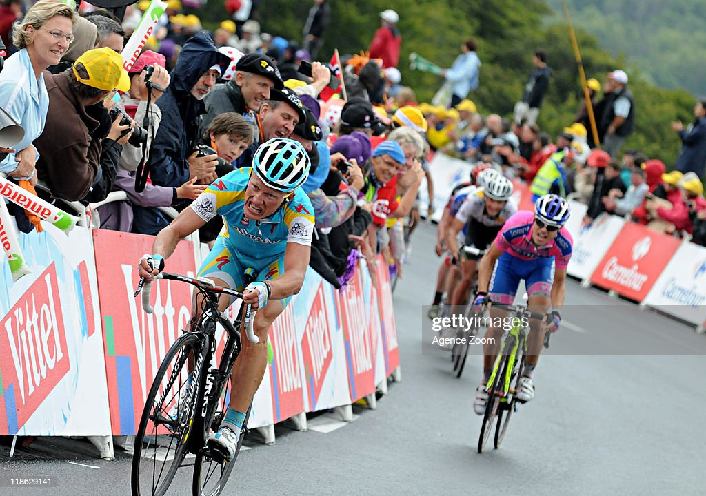 <a gi-track='captionPersonalityLinkClicked' href=/galleries/search?phrase=Alexandre+Vinokourov&family=editorial&specificpeople=546977 ng-click='$event.stopPropagation()'>Alexandre Vinokourov</a> of Pro Team Astana during Stage 8 of the Tour de France on July 9, 2011 Aigurande to Super-Besse Sancy, France.