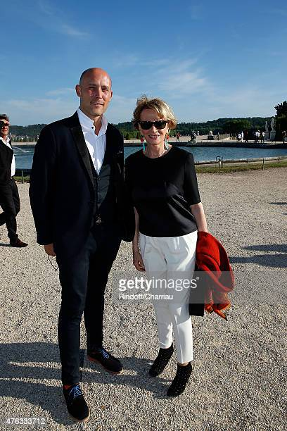 Alexandre Zimmowitch and Eve Ruggieri attends the Grand Opening Anish Kapoor's Exhibition at Chateau de Versailles on June 7 2015 in Versailles France