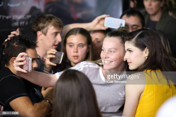 Alexandria Daddario takes selfies with fans ahead of the Australian Premiere of Baywatch on May 18 2017 in Sydney Australia