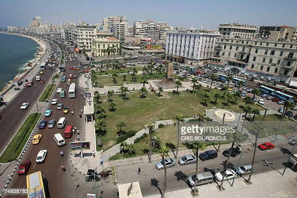 TO GO WITH AFP FEATURE BY ALAIN NAVARRO A general view shows the skyline of the Egyptian port city of Alexandria overlooking the Saad Zaghlul Plaza...