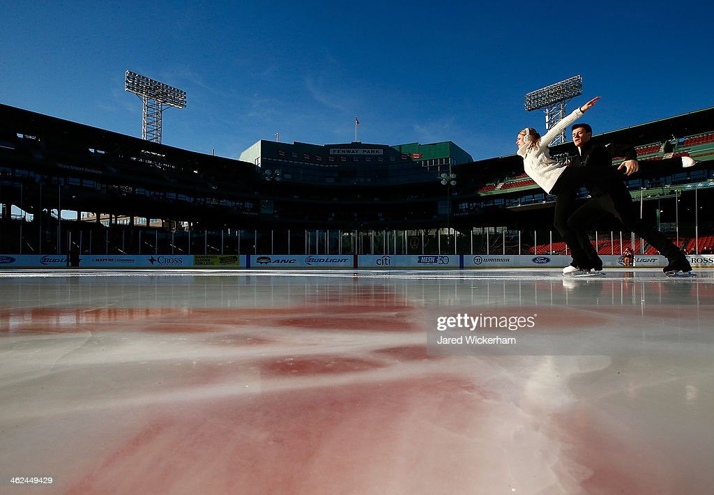 Alexandria Shaughnessy and Jimmy Morgan perform their routine during the figure skating show as part of the Citi Frozen Fenway events at Fenway Park on January 13, 2014 in Boston, Massachusetts.
