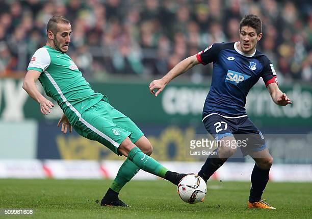 Alexandro Galvez of Bremen challenges Andrej Kramaric of Hoffenheim during the Bundesliga match between Werder Bremen and 1899 Hoffenheim at...