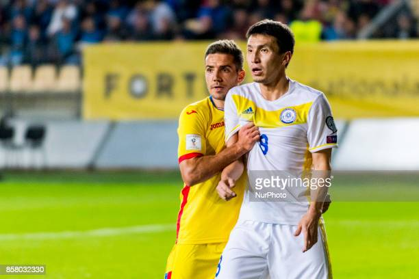 Alexandru Chipciu and Askhat Tagyebergen during the World Cup qualifying campaign 2018 game between Romania and Kazakhstan at Ilie Oana Stadium...