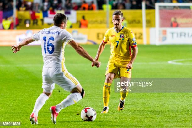 Alexandru Chipciu and Gafurzhan Suyumbayev during the World Cup qualifying campaign 2018 game between Romania and Kazakhstan at Ilie Oana Stadium...