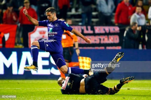 Alexandru Chipciu midfielder of RSC Anderlecht and Sinan Bolat goalkeeper of Antwerp FC pictured during the Jupiler Pro League match between Royal...