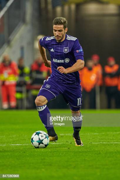 Alexandru Chipciu of Anderlecht controls the ball during the UEFA Champions League group B match between Bayern Muenchen and RSC Anderlecht at...