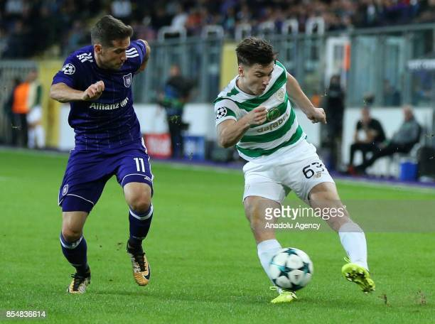 Alexandru Chipciu of Anderlecht in action against Kieran Tierney of Celtic Glasgow during the UEFA Champions League Group B match between Anderlecht...