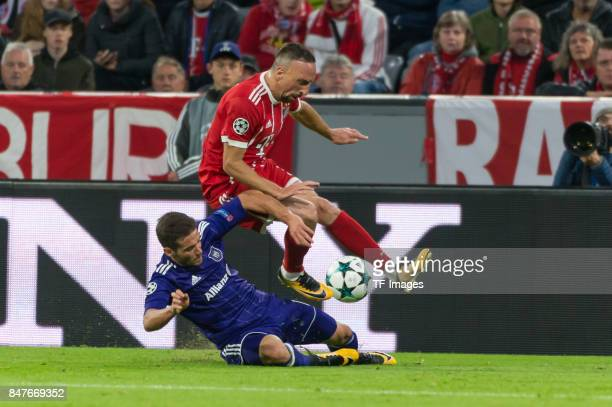 Alexandru Chipciu of RSC Anderlecht and Franck Ribery of Bayern Muenchen battle for the ball during the UEFA Champions League group B match between...