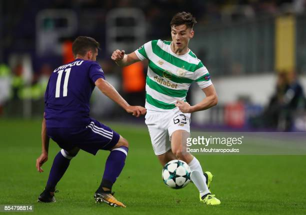 Alexandru Chipciu of RSC Anderlecht and Kieran Tierney of Celtic battle for possession during the UEFA Champions League group B match between RSC...