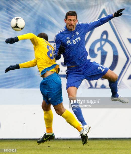 Alexandru Gatcan of FC Rostov RostovonDon competes for the ball in the air with Kevin Kuranyi of FC Dynamo Moscow during the Russian Premier League...