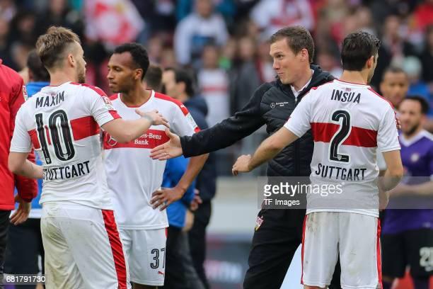 Alexandru Iulian Maxim of Stuttgart Head coach Hannes Wolf of Stuttgart Emiliano Adriano Insua of Stuttgart celebrate their win during the Second...
