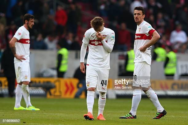 Alexandru Maxim and Christian Gentner of Stuttgart react after the Bundesliga match between VfB Stuttgart and Bayer Leverkusen at MercedesBenz Arena...