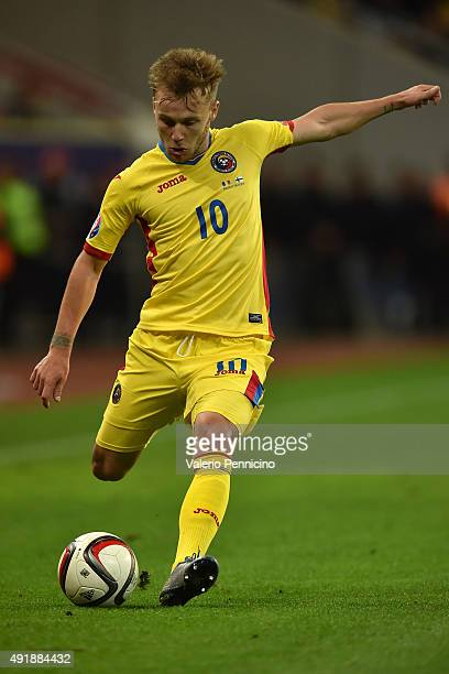 Alexandru Maxim of Romania in action during the UEFA EURO 2016 Qualifier between Romania and Finland on October 8 2015 in Bucharest Romania