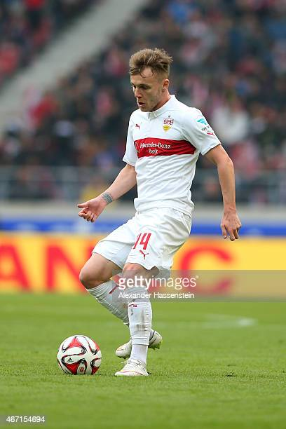 Alexandru Maxim of Stuttgart battles runs with the ball during the Bundesliga match between VfB Stuttgart and Eintracht Frankfurt at MercedesBenz...