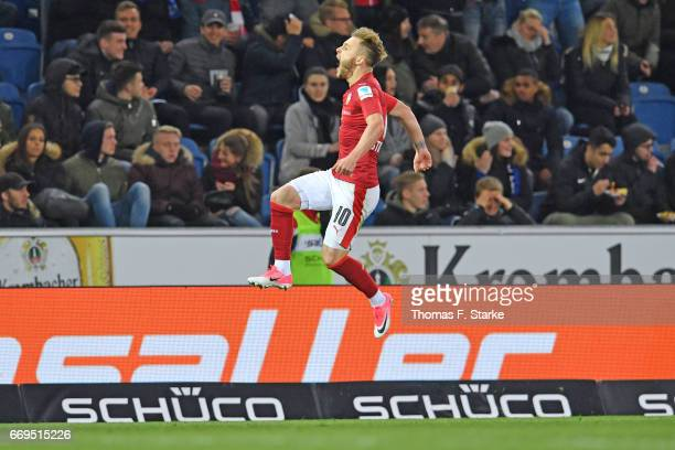 Alexandru Maxim of Stuttgart celebrates during the Second Bundesliga match between DSC Arminia Bielefeld and VfB Stuttgart at Schueco Arena on April...