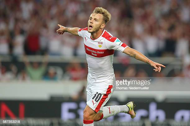 Alexandru Maxim of Stuttgart celebrates his goal during the Second Bundesliga match between VfB Stuttgart and FC St Pauli at MercedesBenz Arena on...