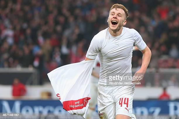 Alexandru Maxim of Stuttgart celebrates scoring the 3rd team goal during the Bundesliga match between VfB Stuttgart and Eintracht Frankfurt at...