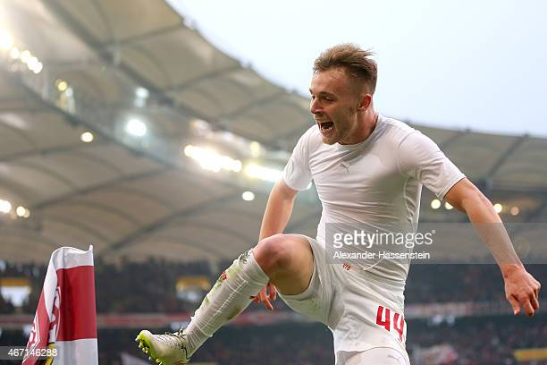 Alexandru Maxim of Stuttgart celebrates scoring the 3rd team goal during the Bundesliga match between VfB Stuttgart and Eintracht Frankfurt at...