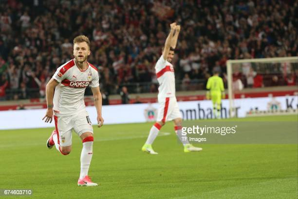 Alexandru Maxim of Stuttgart celebrates the first goal for his team during the Second Bundesliga match between VfB Stuttgart and 1 FC Union Berlin at...
